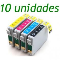 10 UNIDADES EPSON 0711/2/3/4 cartuchos sustitutos, reemplaza al T0711, T0712, T0713 y 70714